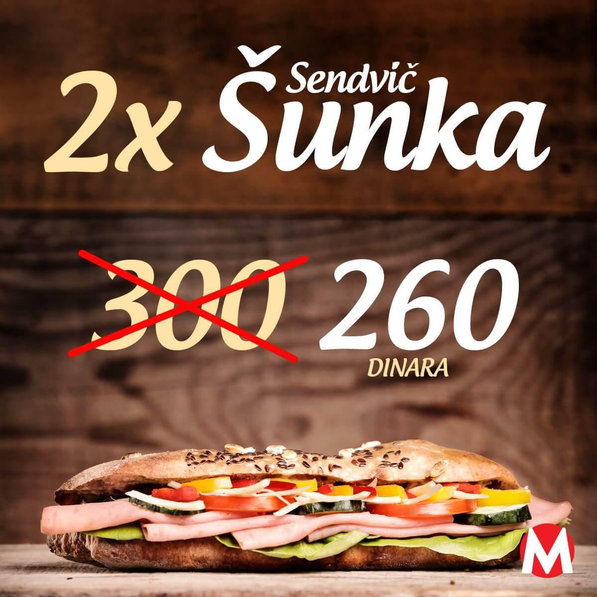 Minuta - 2x sendvič šunka